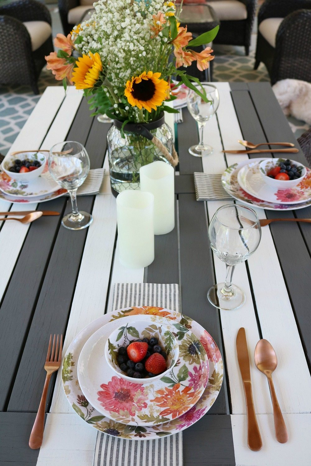 Stripes and florals make a bold statement perfect for dining outside
