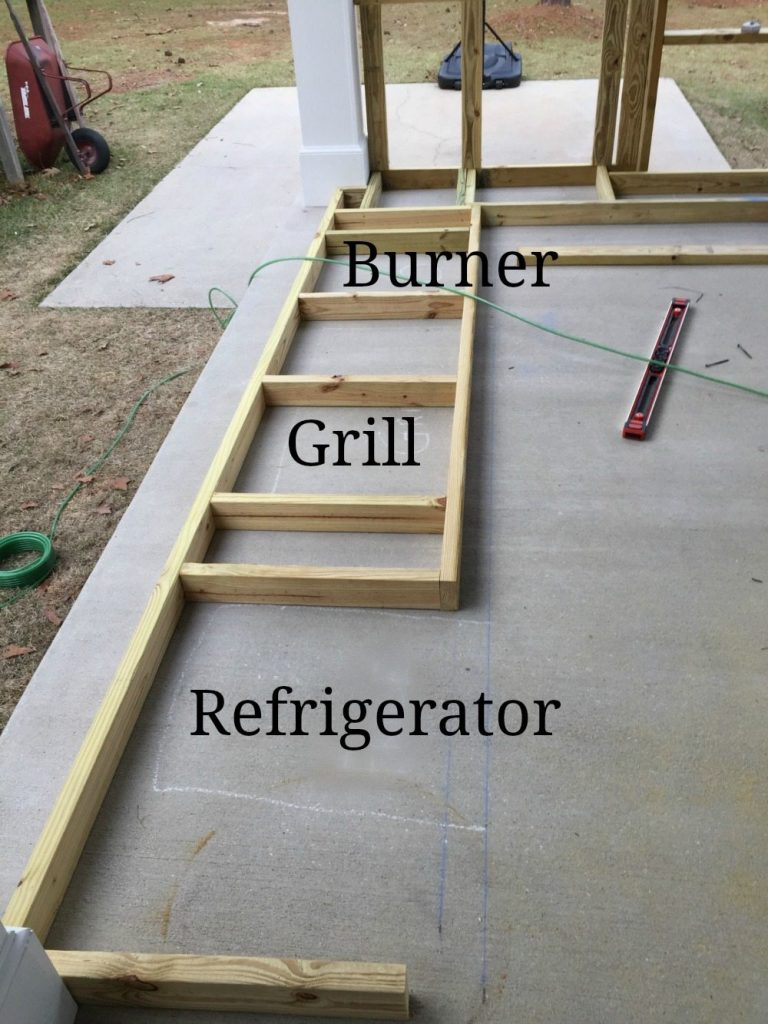Building the base cabinets for the outdoor kitchen at Refresh Restyle