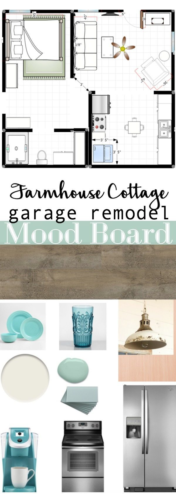 Farmhouse Cottage garage remodel mood board at Refresh Restyle