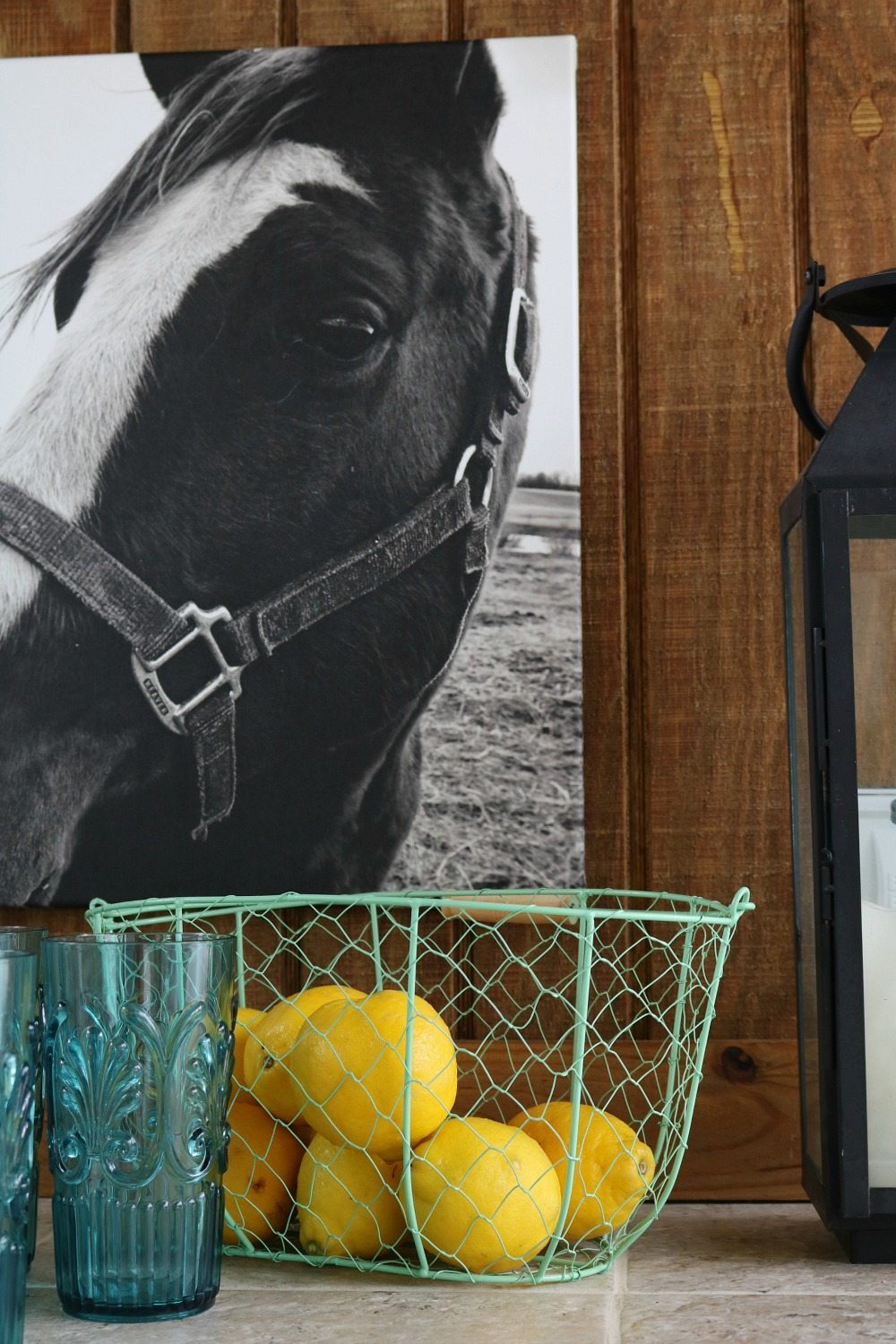 Horse on canvas is perfect for the farmhouse look on the porch at Refresh Restyle