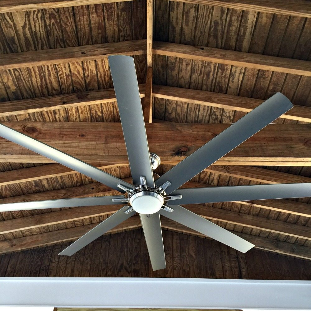 Kensgrove 72 in. LED IndoorOutdoor Brushed Nickel Ceiling Fan on the porch at Refresh Restyle