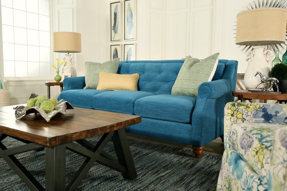 La Z Boy tufted sofa in turquoise for the design Dash room by Refresh Restyle