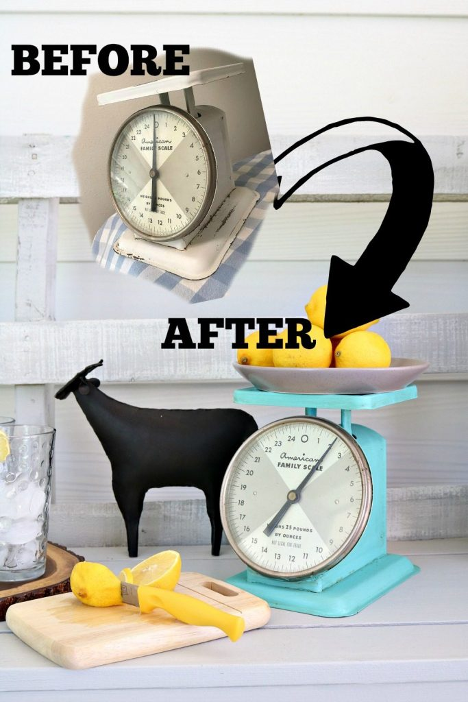 Make your own aqua kitchen scale easy with this DIY painted metal project