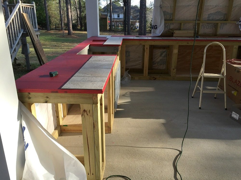 Painted Red Guard on my countertops before tiling at Refresh Restyle