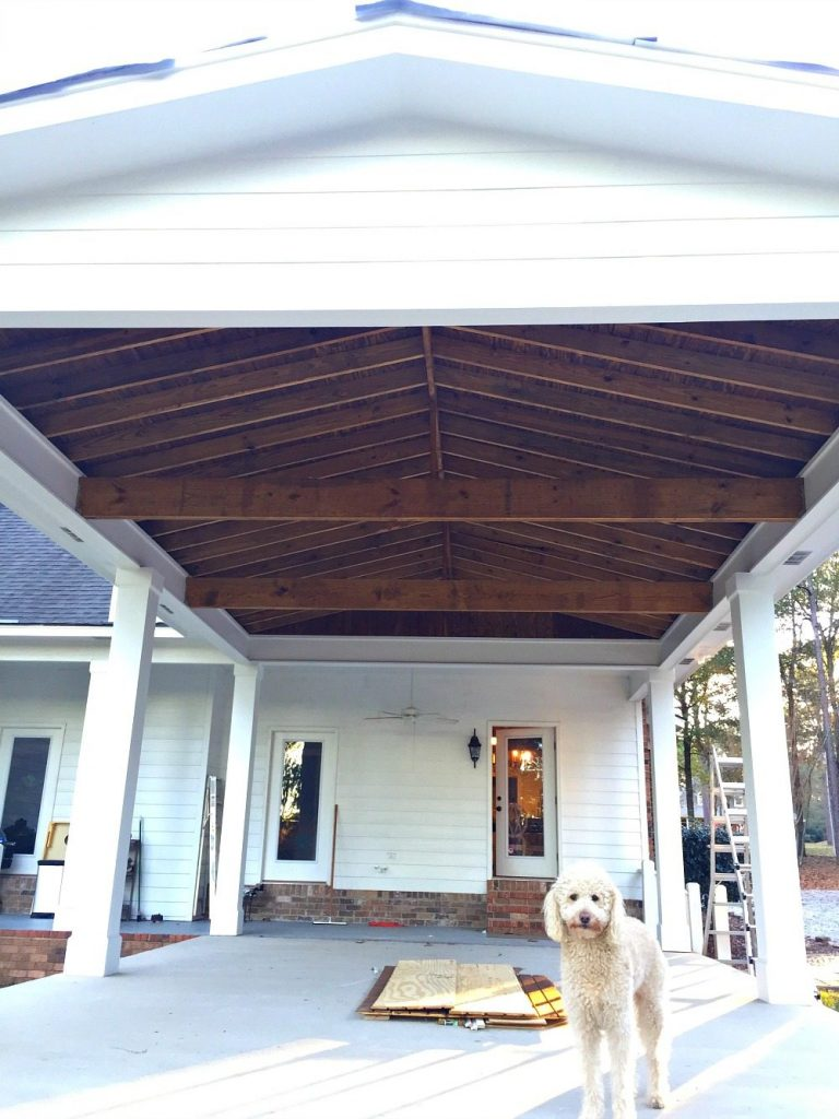 Painted masonite waiting for the finishing touches at Refresh Restyle porch