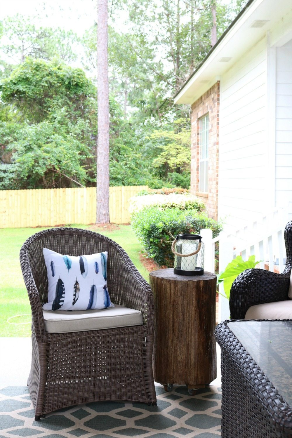 Stump tables are perfect on the porch at Refresh Restyle