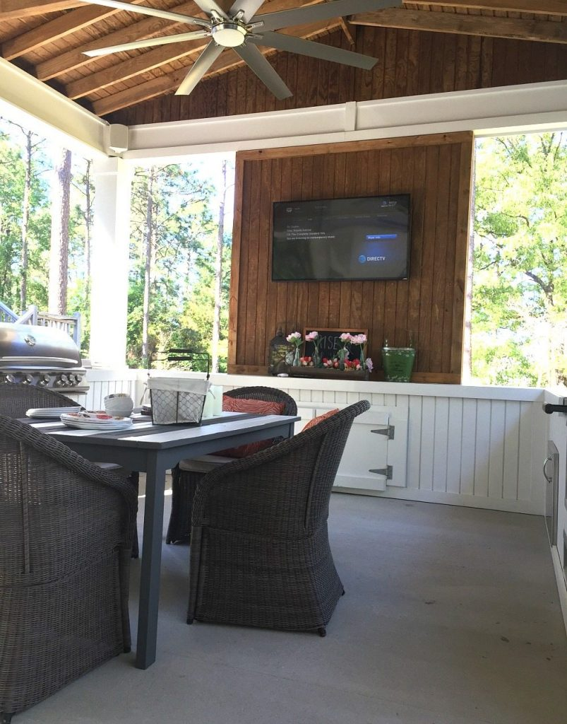 TV surround sound on the farmhouse porch at Refresh Restyle