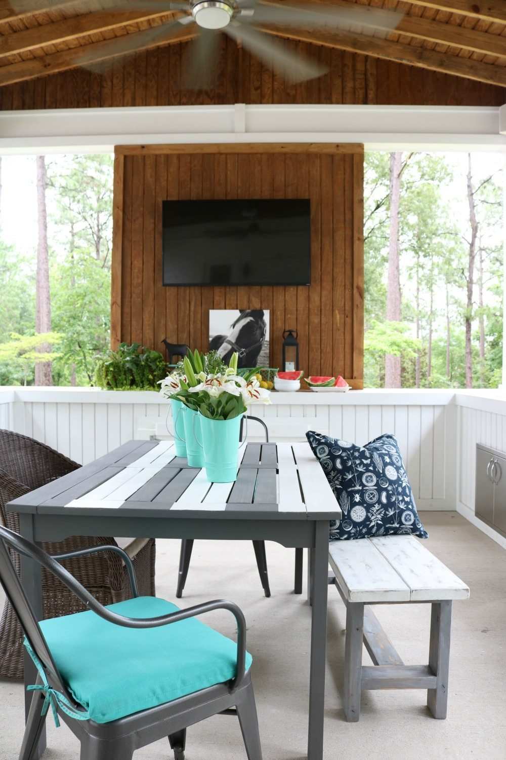 TV wall on the farmhouse porch at Refresh Restyle