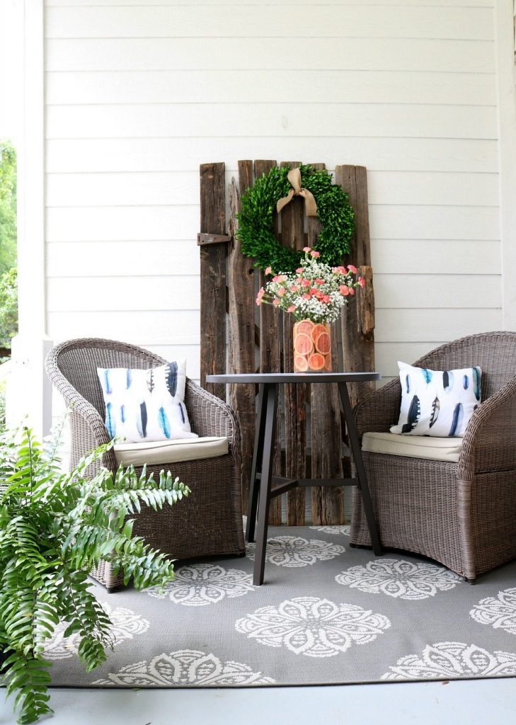 The other end of the farmhouse porch at Refresh Restyle
