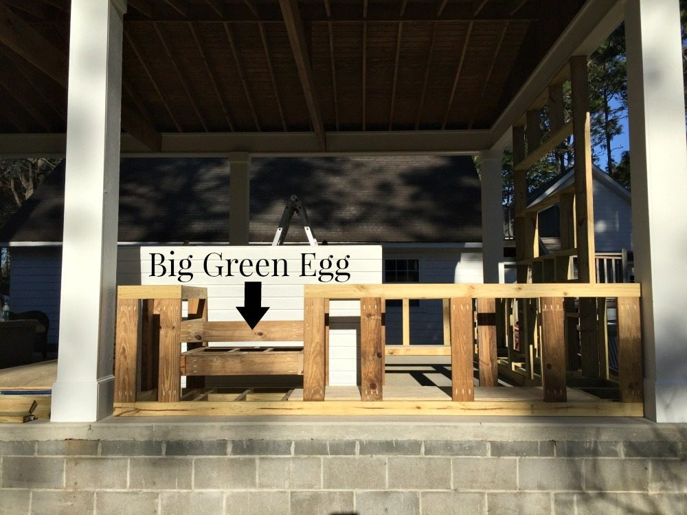 View from the side of the outdoor kitchen spot for the big green egg at Refresh Restyle