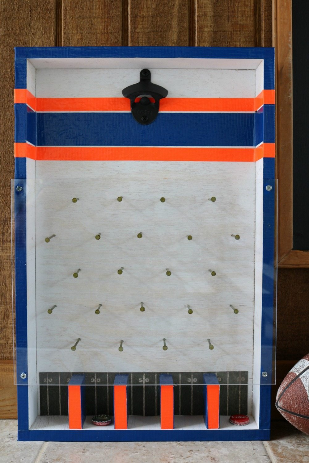 Auburn colors for this DIY bottle opener game at Refresh Restyle