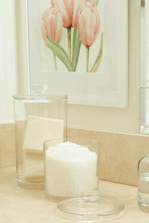 Bath salts and bath bars in glass storage