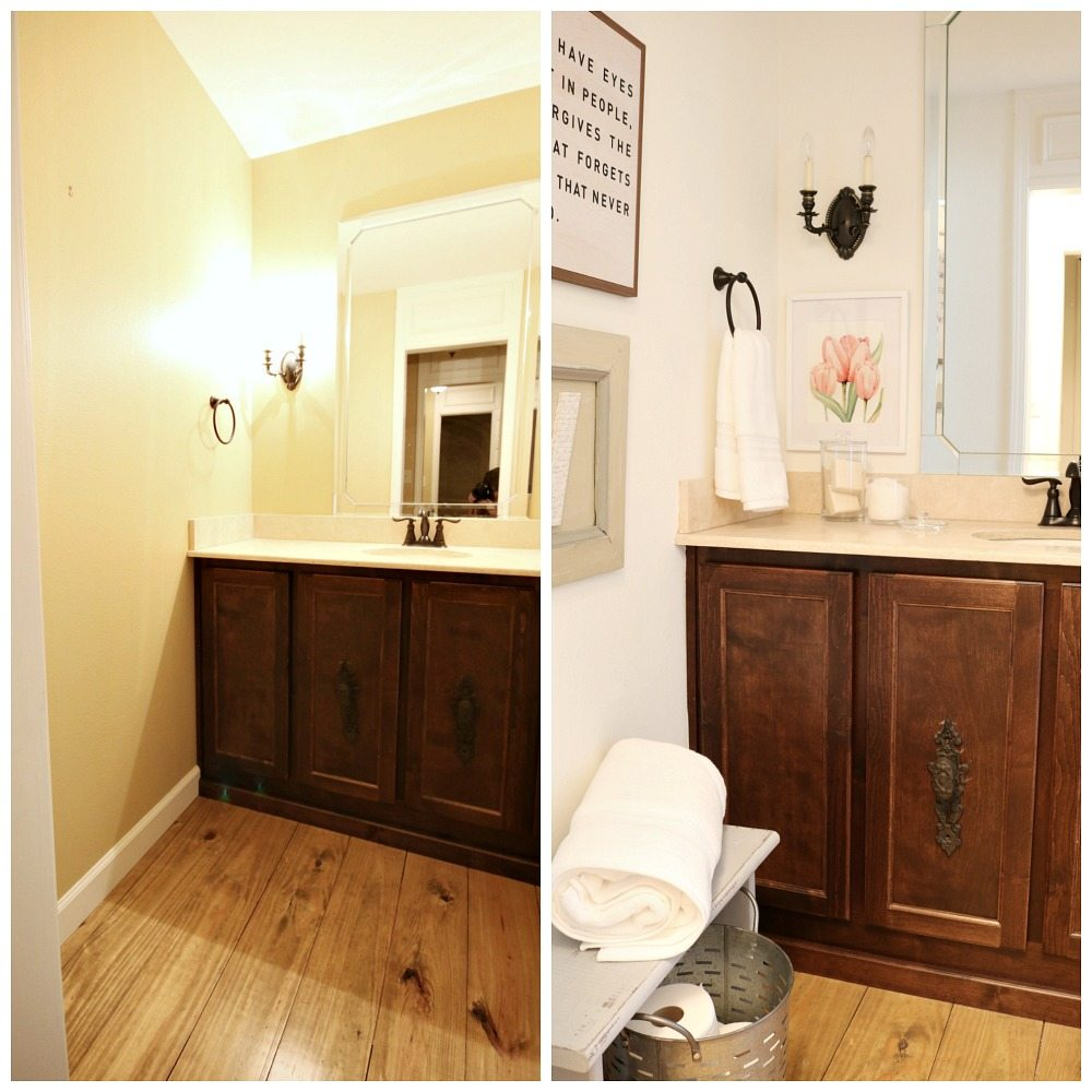 Before and after guest bath refresh