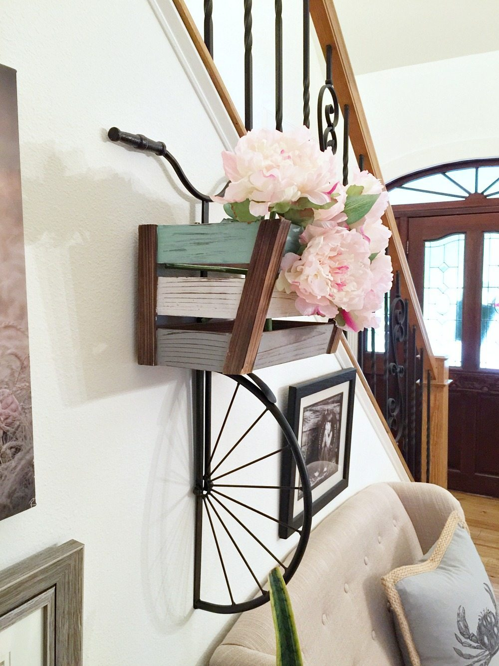 Cutest half bike for the wall with peonies