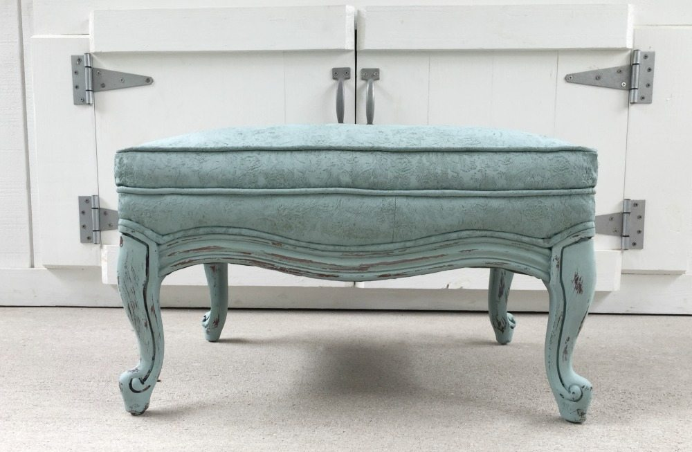 Duck Egg Blue painted fabric on a thrift store ottoman