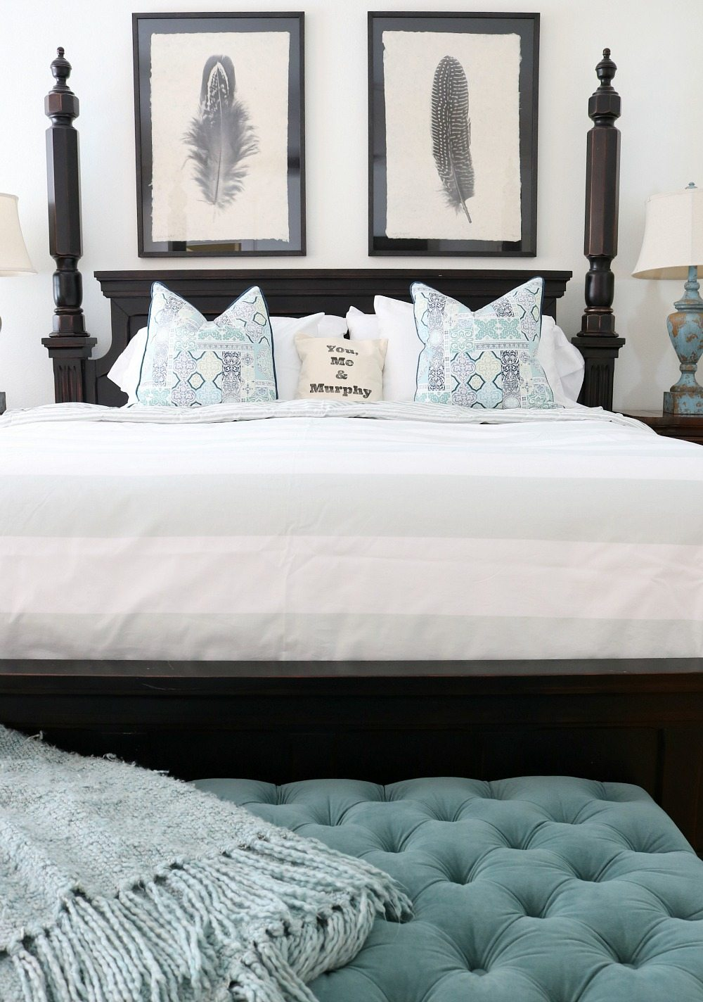 Feather prints are perfect for the farmhouse bedroom