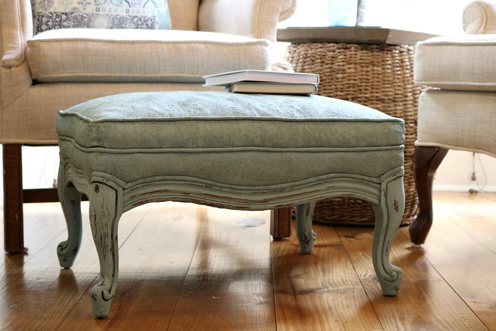 Go ahead and paint that fabric on your ottoman with chalk paint