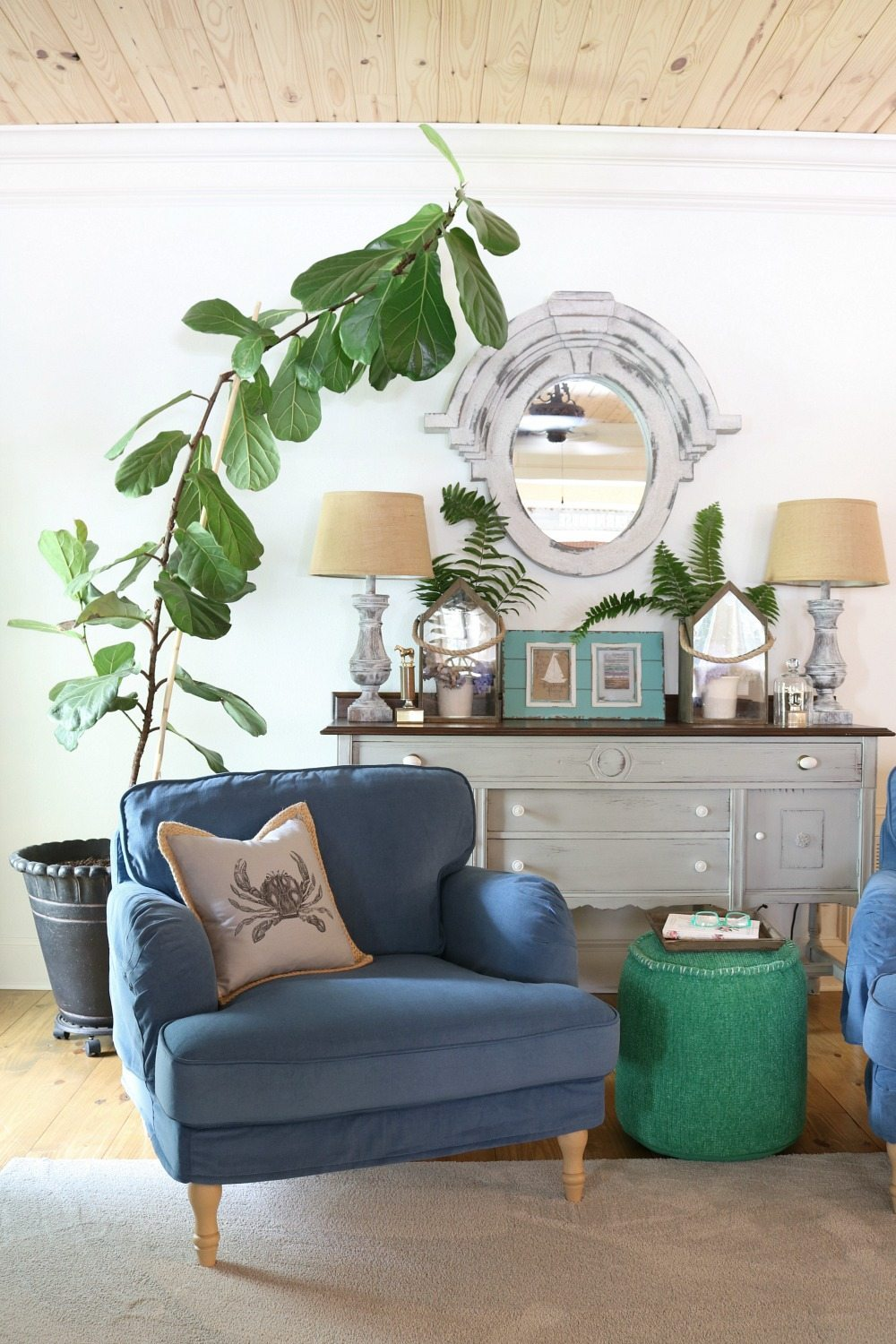Living Room at Refresh Restyle huge fiddle leaf fig tree