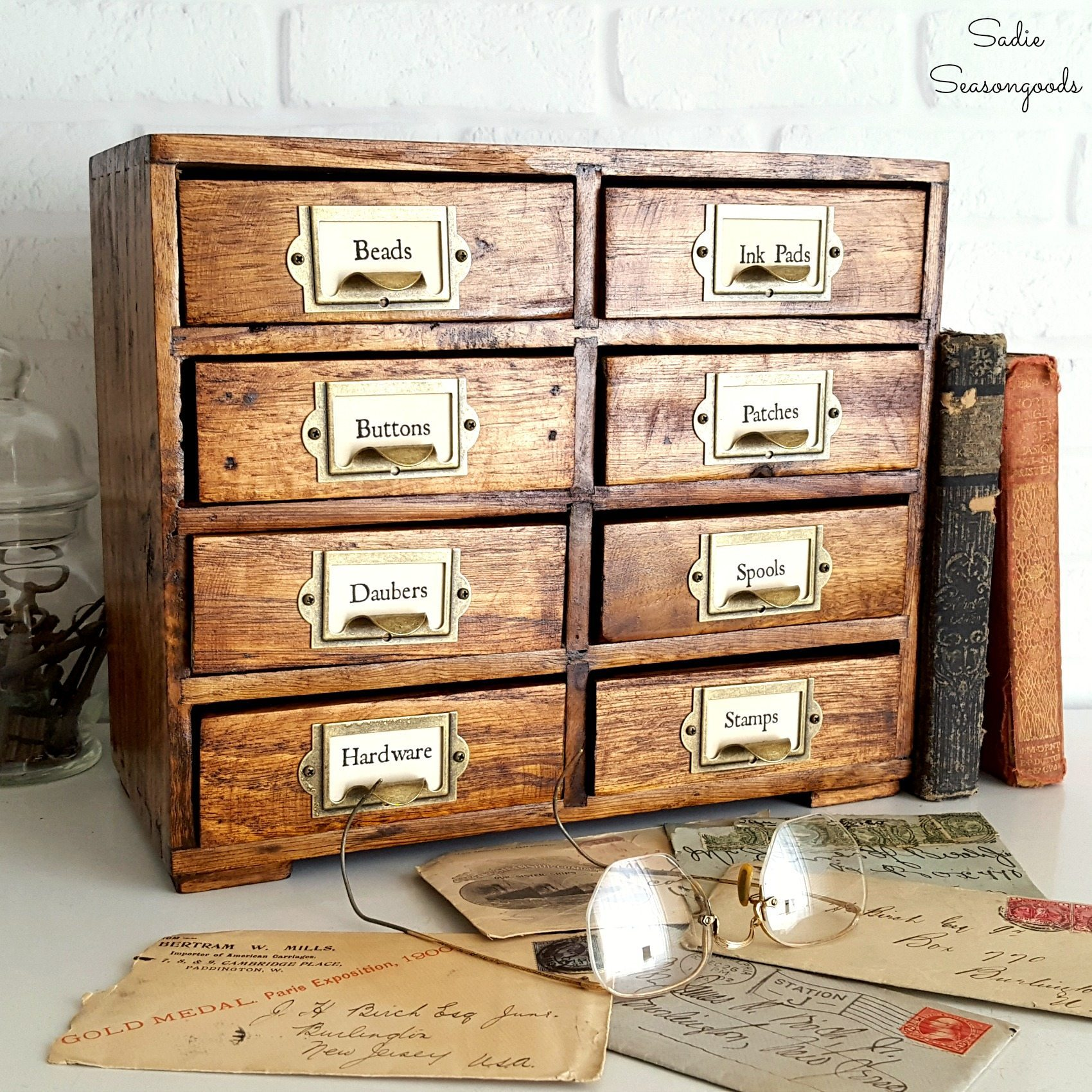 Repurposed_painted_set_of_mini_drawers_refinished_to_look_like_vintage_library_card_catalog_by_Sadie_Seasongoods-Copy
