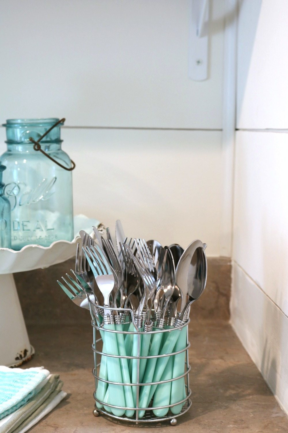 Set of turquoise aqua silverware from Hobby Lobby perfect for summer at Refresh Restyle farmhouse cottage