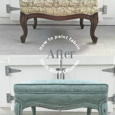 Thrift Store Ottoman makeover you can paint fabric