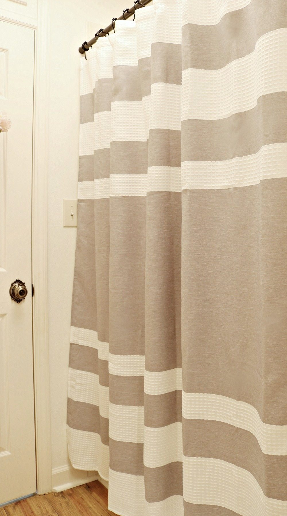 Waffle stripe shower curtain perfect for a neutral bathroom