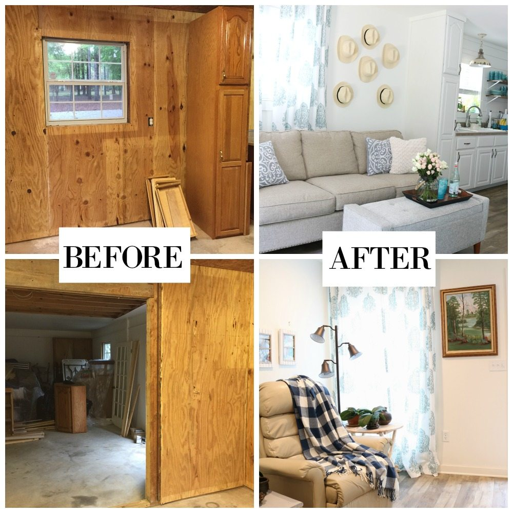 Before and After of the Farmhouse Cottage Mama is tiny living