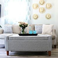 Small house living take advantage of storage bench coffee table idea