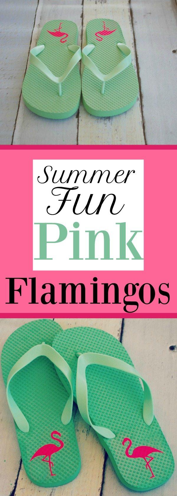 Summer fun flip flops with Pink Flamingos