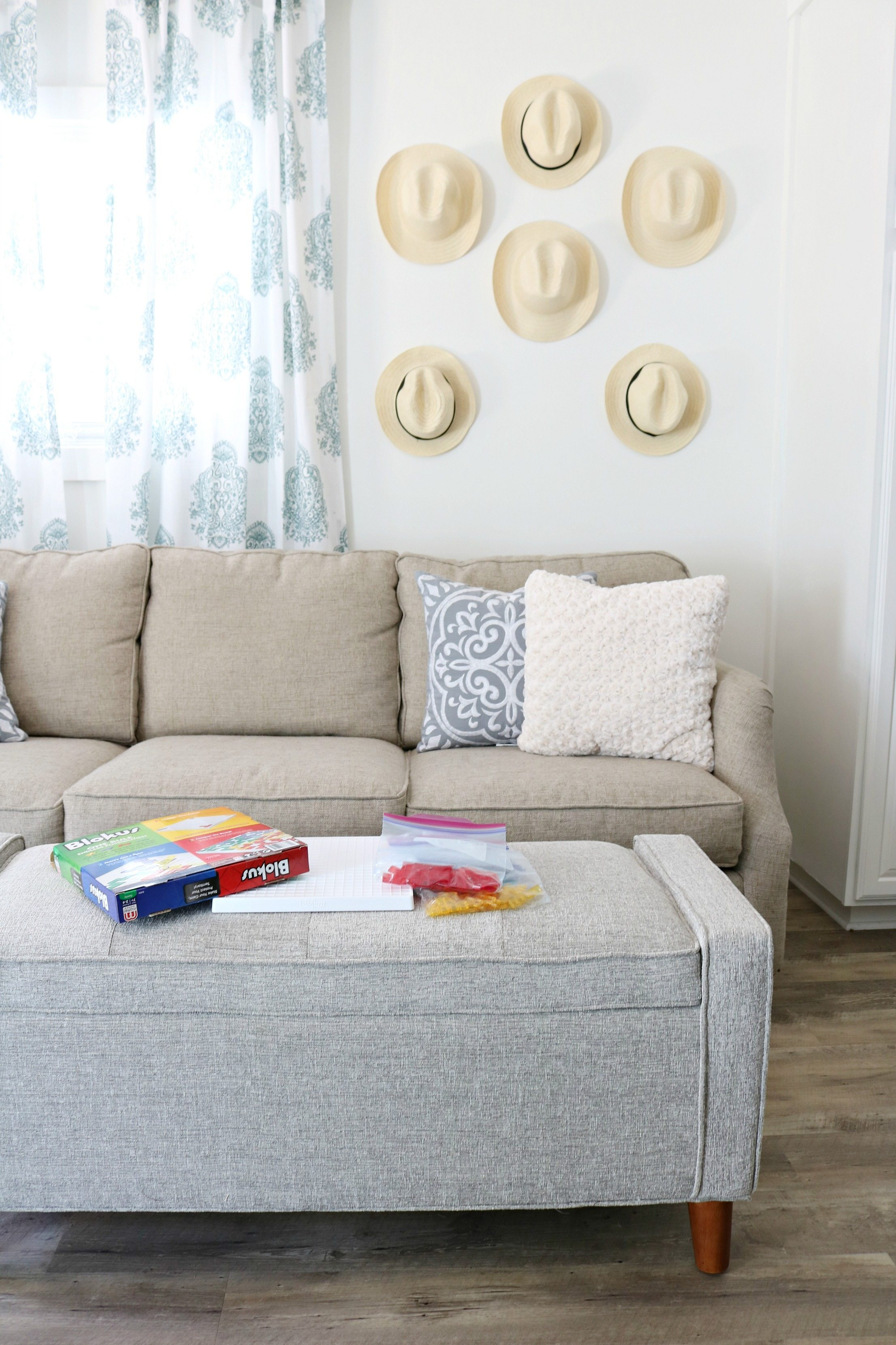 Warm grays and simple decor for a small living room
