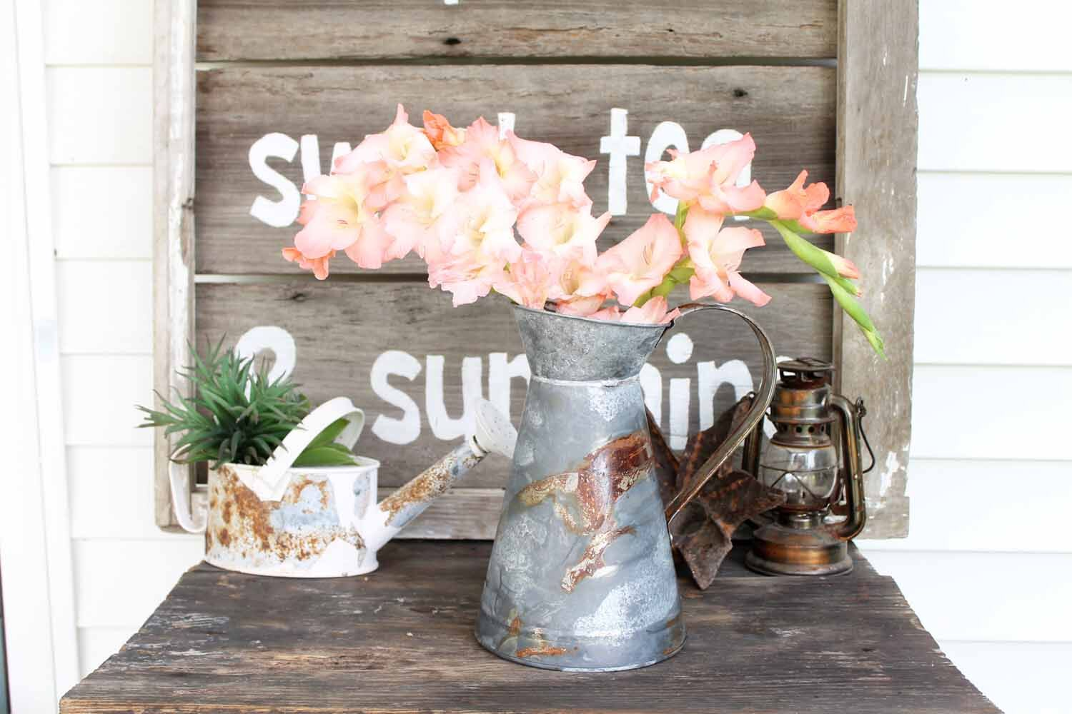 Farmhouse rustic floral container DIY