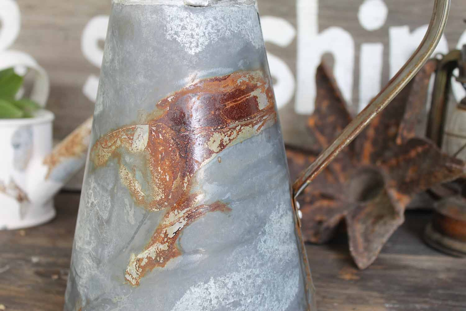 Rustic farmhouse galvanized metal pitcher
