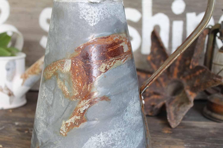 Rustic farmhouse galvanized metal pitcher