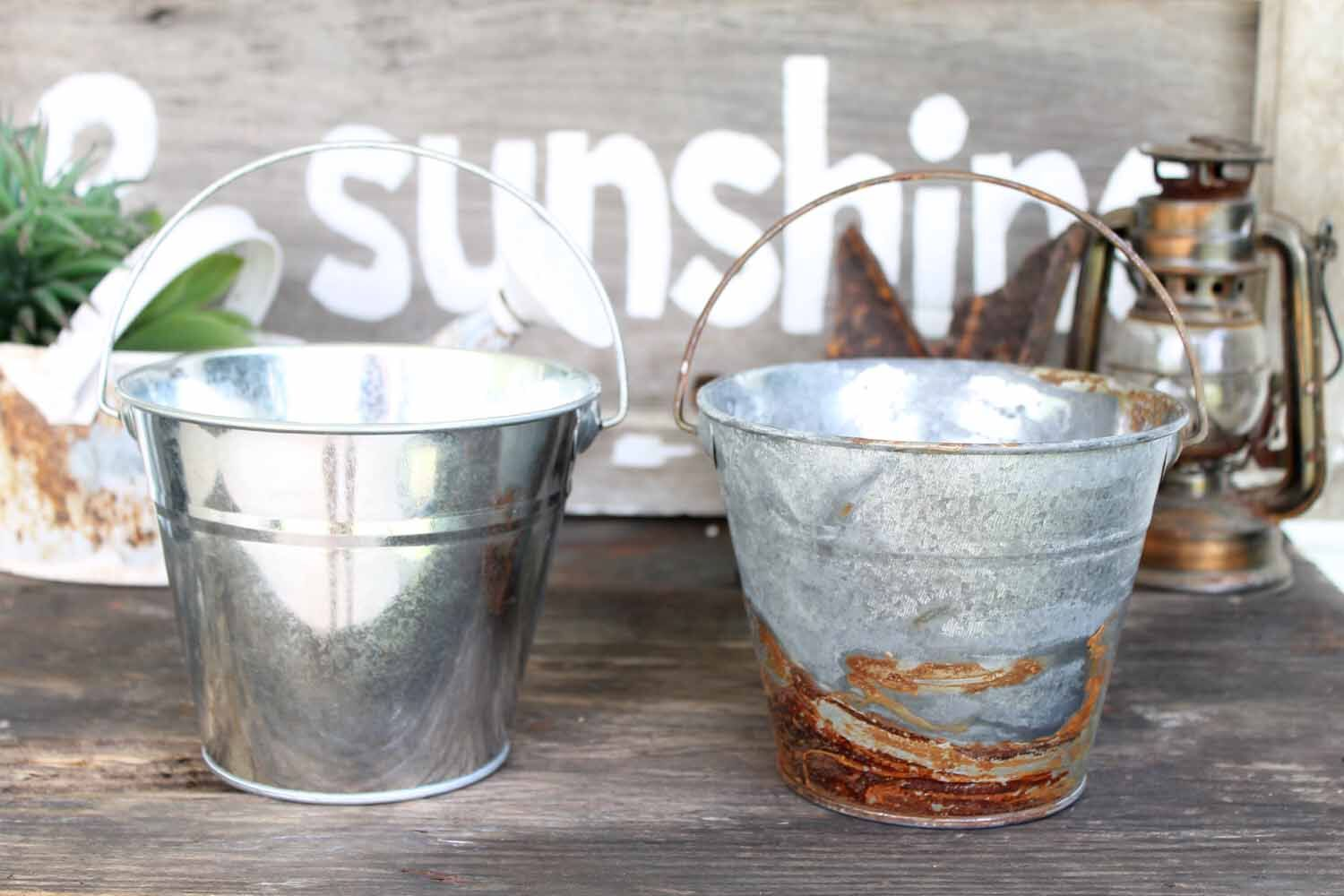 Shiny metal is transformed in to rustic beauties