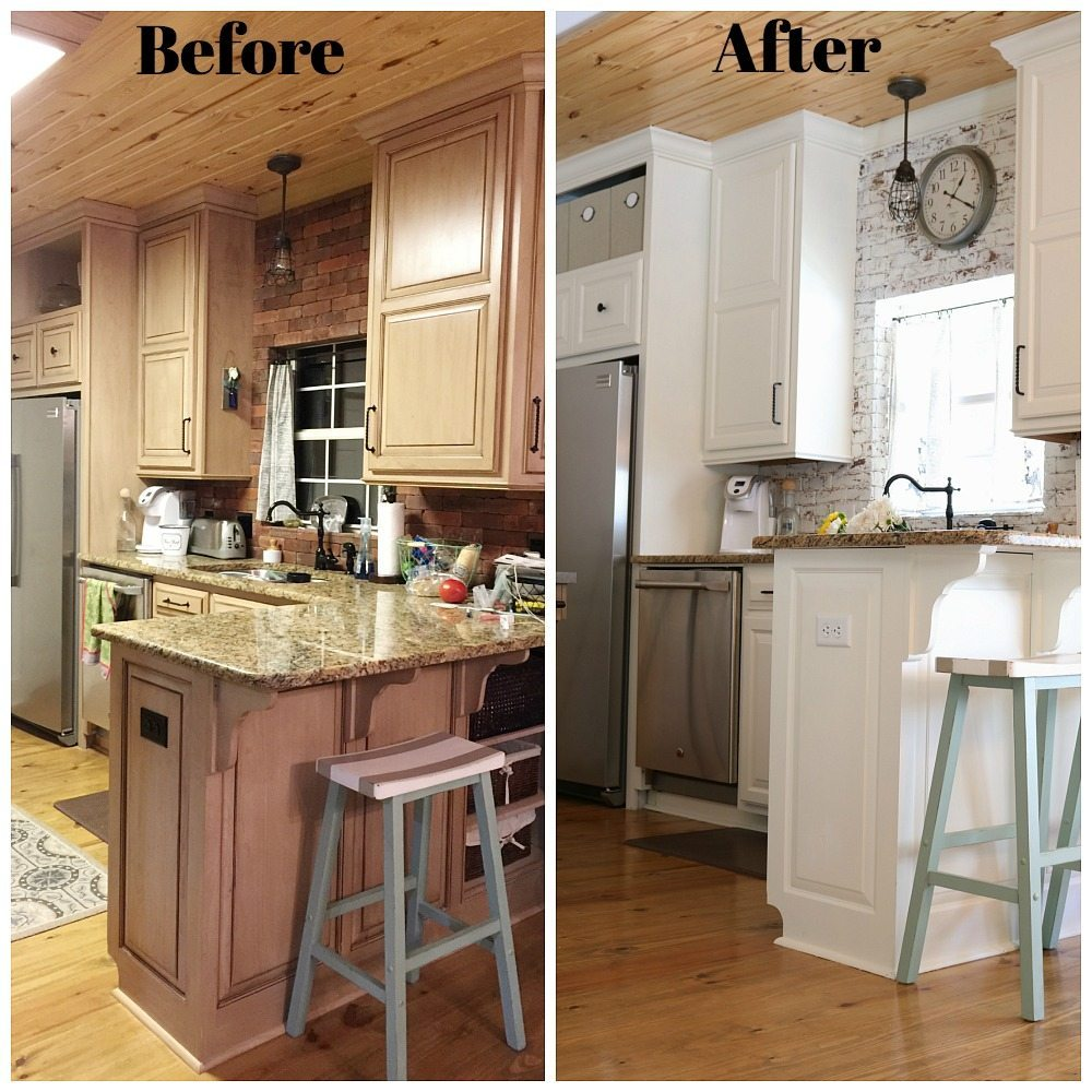 Kitchen makeover before after refresh restyle for Kitchen remodel before after