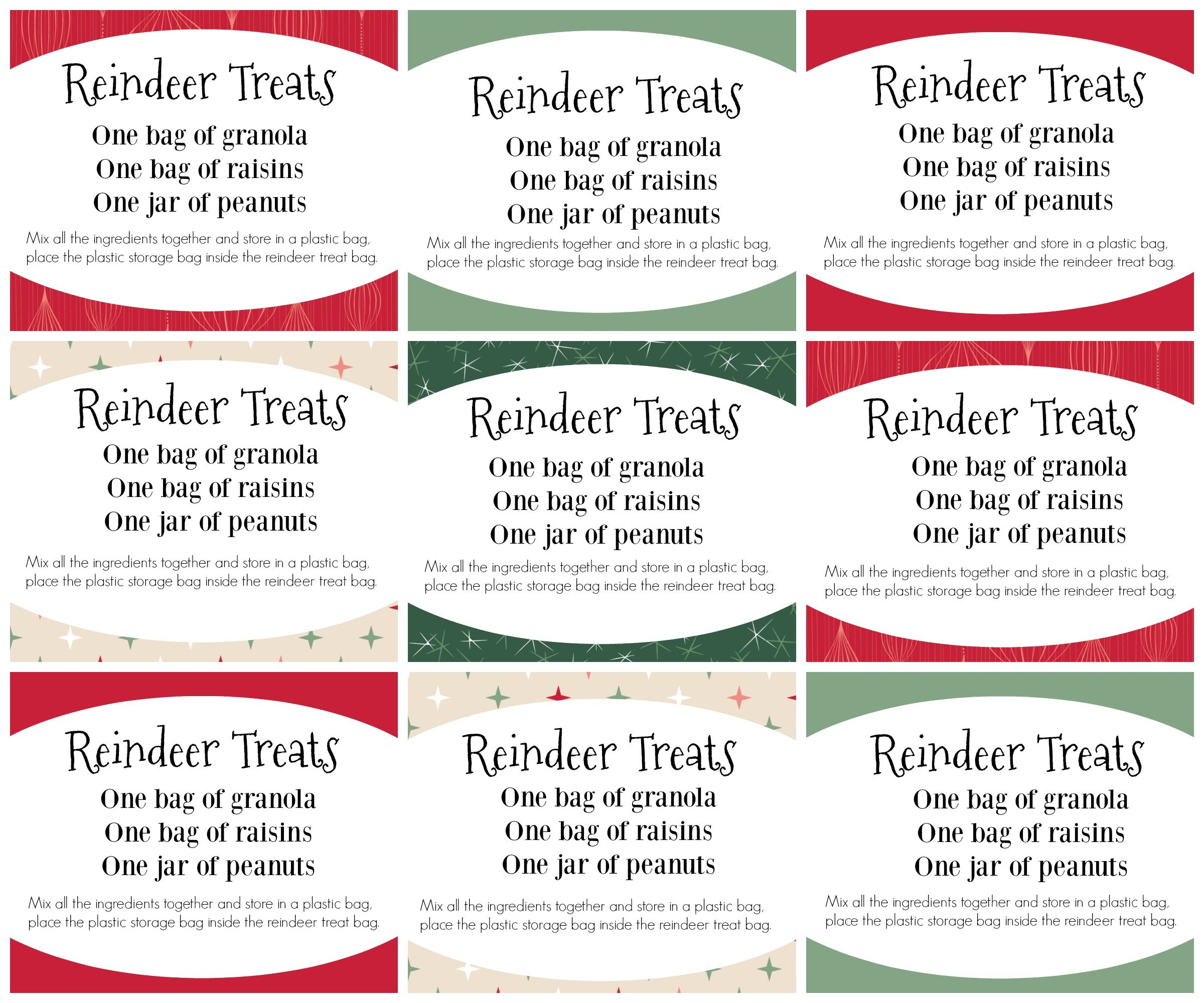 Reindeer Treats Recipe cards free printable