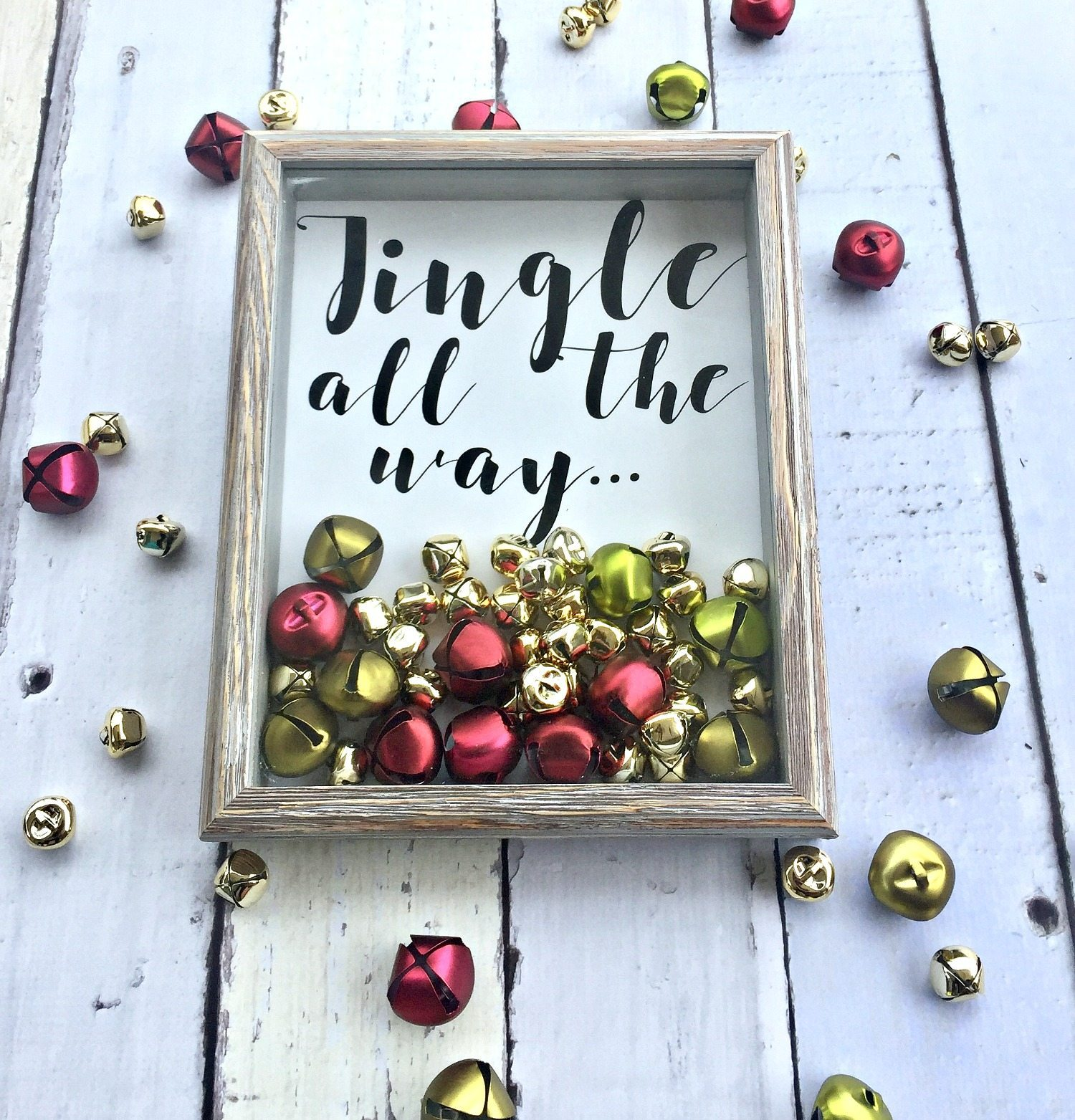 Christmas idea cute shadow box with bells