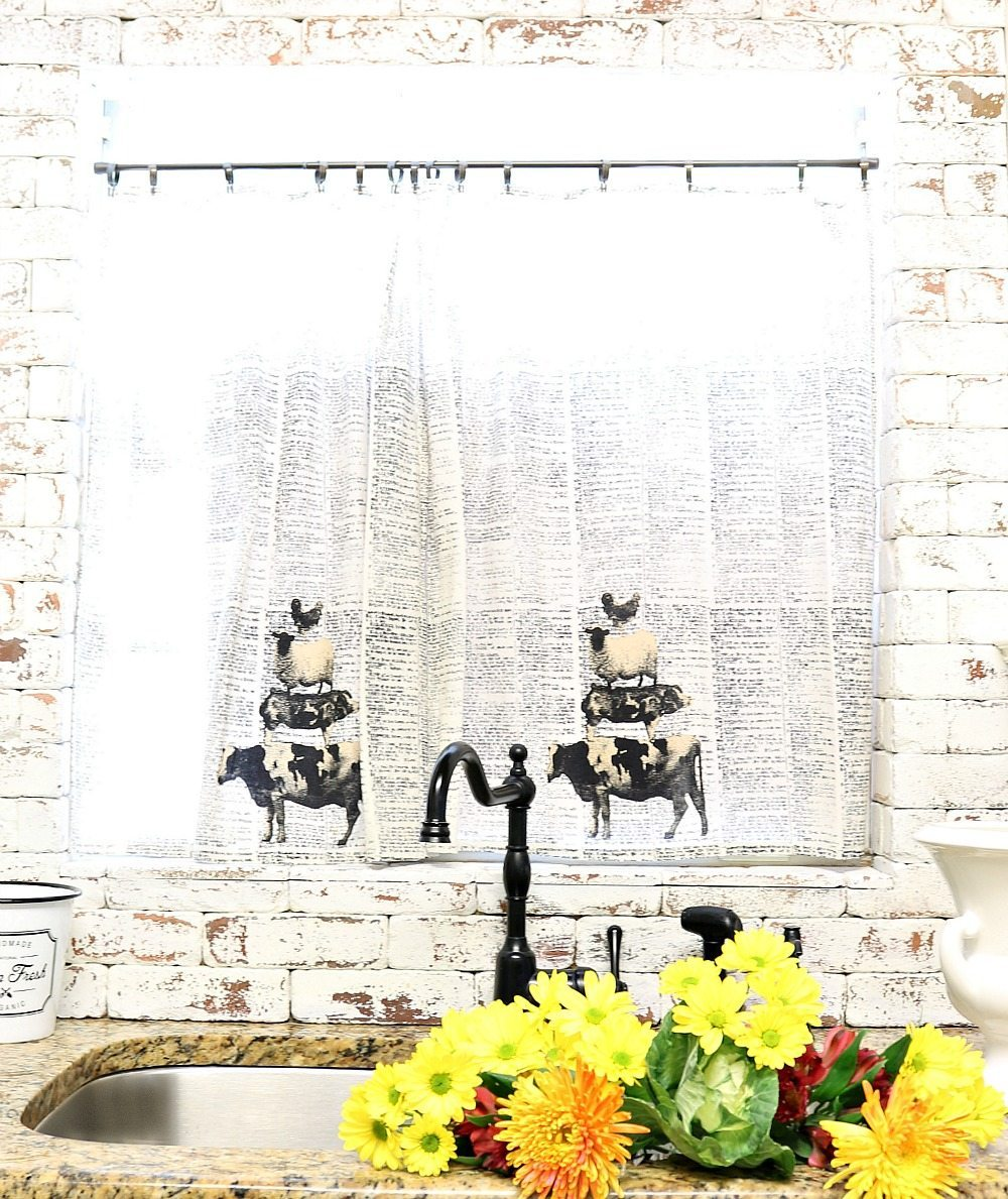 Dish towels for a quick farmhouse curtain in the kitchen at Refresh Restyle