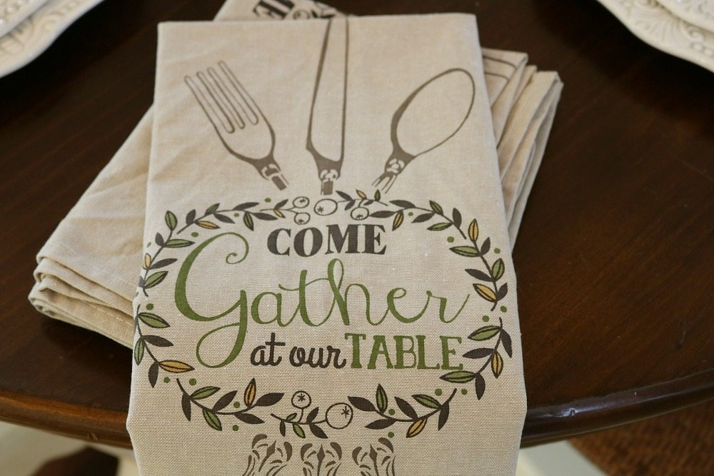 Dish towels for napkins on a fall table