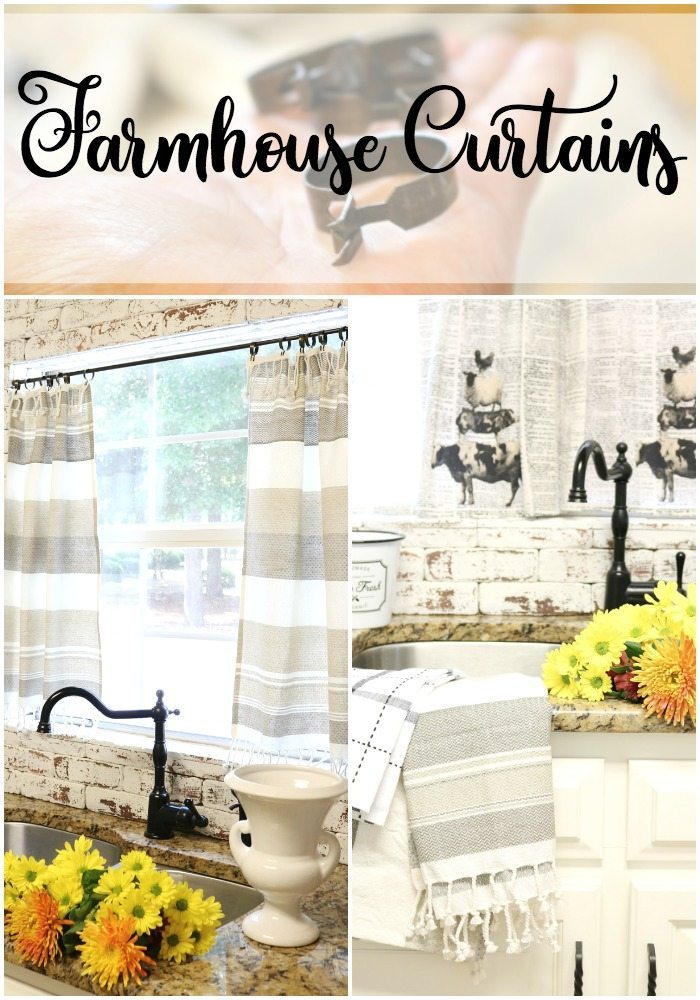 Easy to make farmhouse curtains for the kitchen window at Refresh Restyle