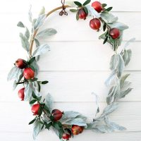 Fall ready with this quilt hoop wreath filled with lambs ear and pomegranate