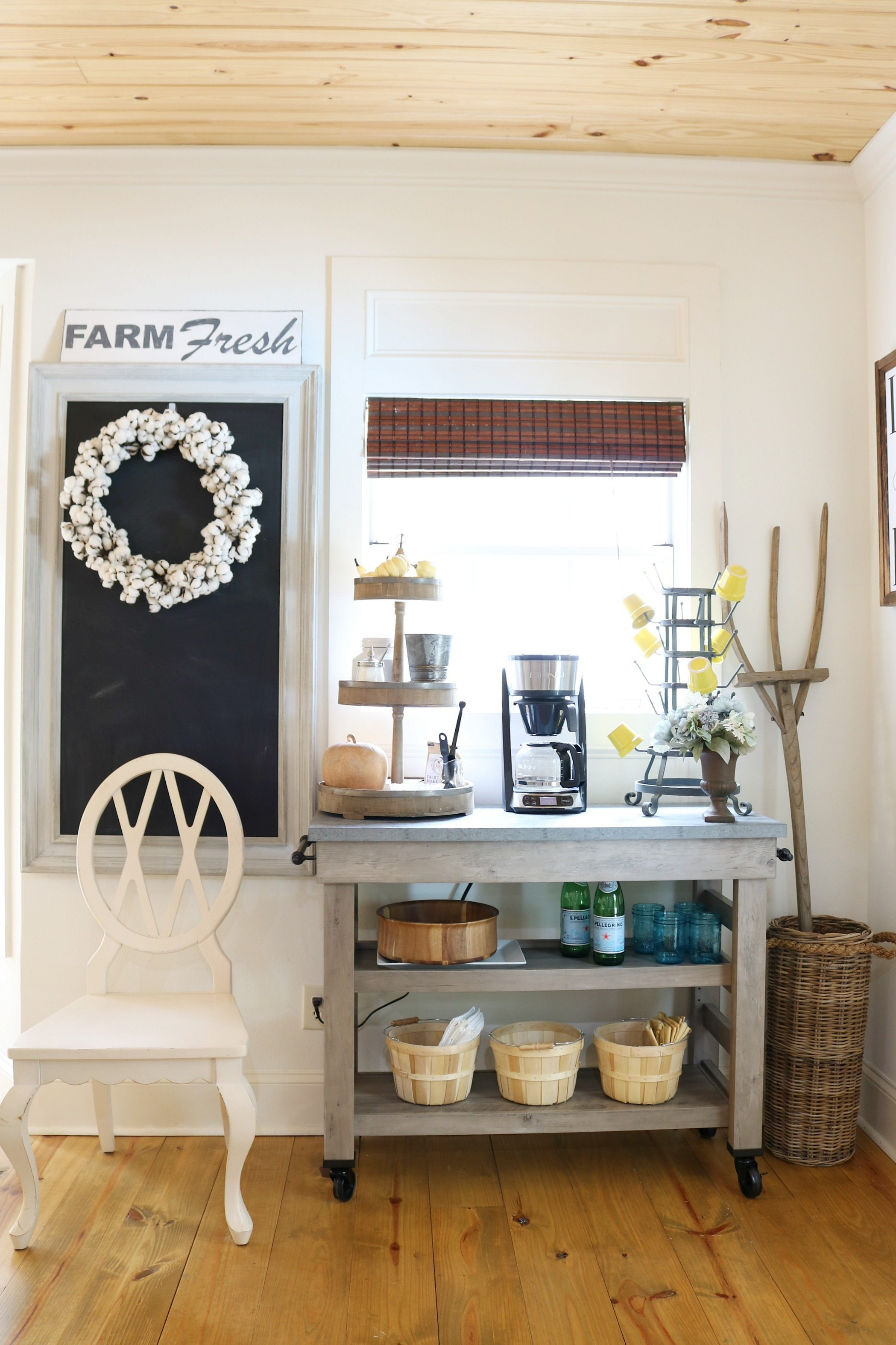 Farmhouse cart for coffee station