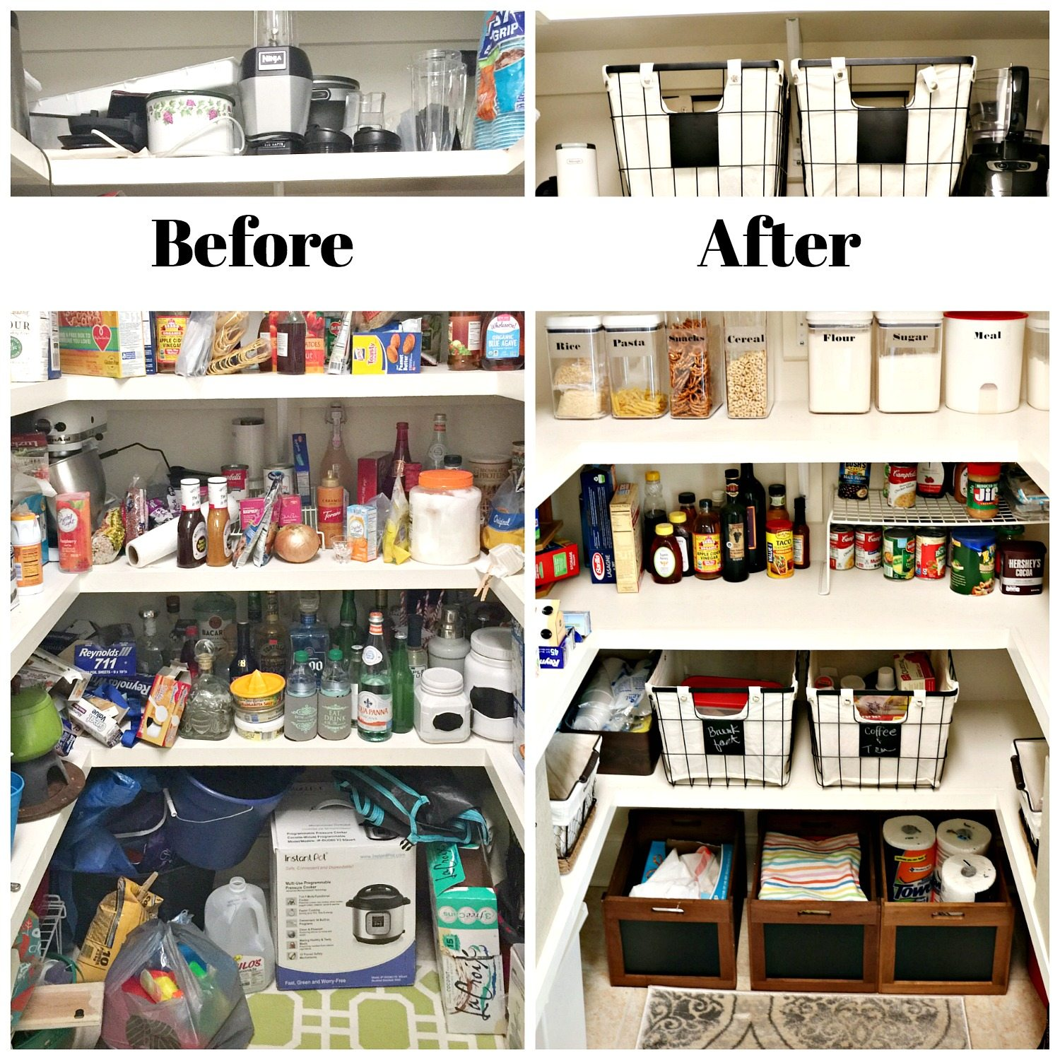 Pantry organized after and before