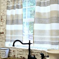 Simple kitchen curtains made with dish towels at Refresh Restyle