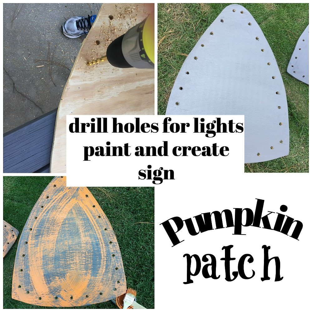 how to make a harvest yard sign for fall with lights