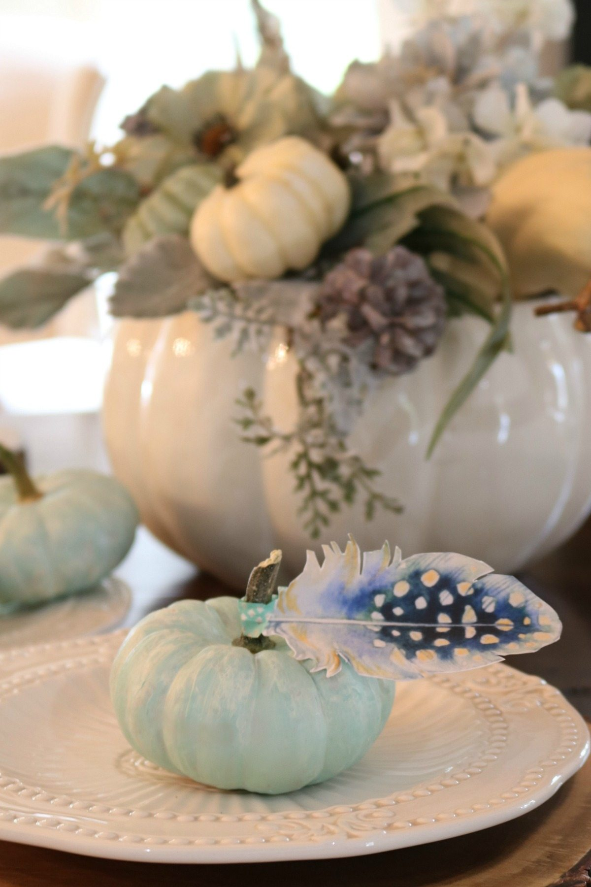 Blue pumpkins with paper feathers from Refresh Restyle