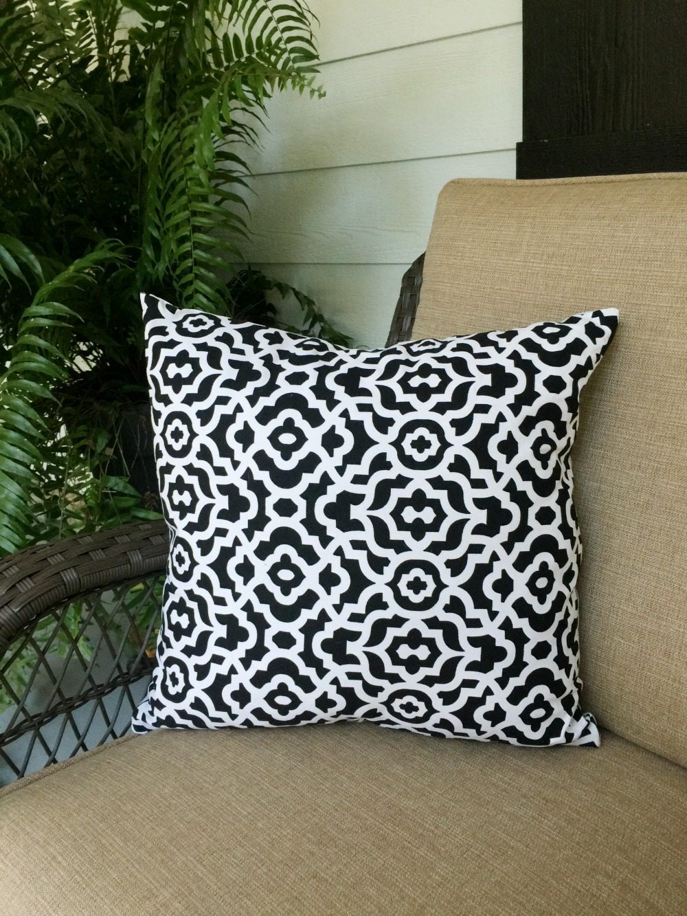 Hand Painted Pillow with reverse fabric
