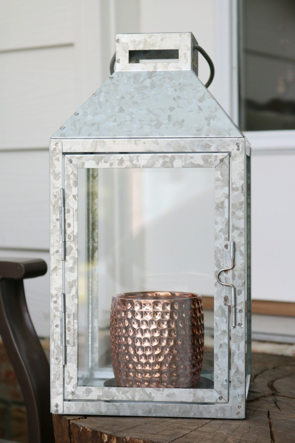 Mixed metals copper and galvanized lantern