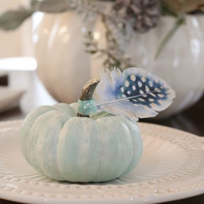 Tiny blue pumpkins with paper feathers