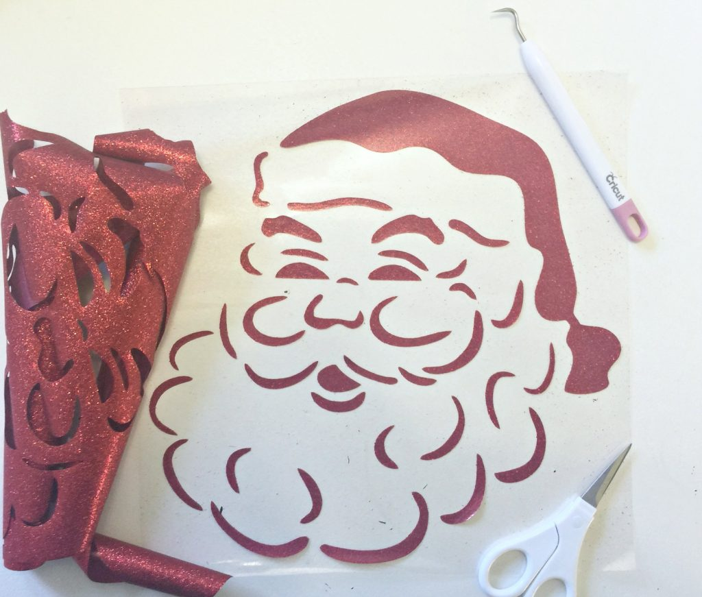 Vintage looking Santa in red glitter
